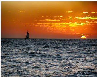 Sailboat at sunset, Clearwater Beach, Florida