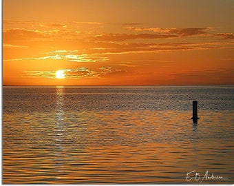 Lonely Buoy at Sunset Beach, Tarpon Springs Florida