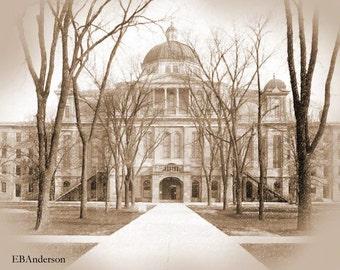 Vintage University Hall, University of Michigan, Ann Arbor Michigan Download Image