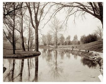 Vintage Mirror Lake with Island , Ohio State University, Columbus Download Image