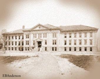 Vintage Brown Hall, Ohio State University, Columbus, Ohio Download Image File