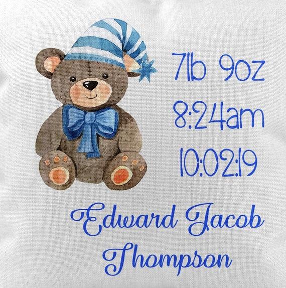 Birth details Christening Teddy Bear Cushion Gift Personalised Boys New Baby