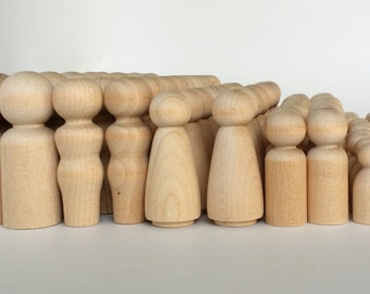 100 Wooden Peg Dolls  20 Families of 5  Peg People  Waldorf  Unfinished Maple Ready to Paint  Twenty Families of Five