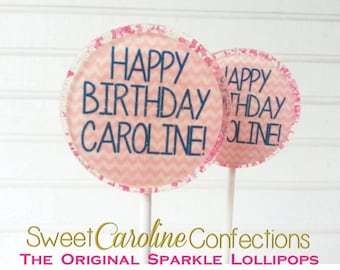 Birthday Favors, Pink and White Lollipops, Chevron Lollipops, Birthday Favors, Candy Lollipop, Lollipop Favors, Set of 6