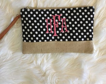 Monogram Burlap Makeup Bag,Monogram Cosmetic Bag,Monogram Wristlet,Cosmetic Bag,Monogram Burlap Wristlet,Monogram Burlap Cosmetic Bag