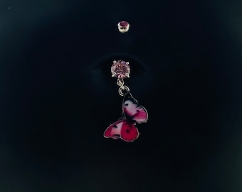 Disneyland Disney Red MICKEY MOUSE Dangle Navel Belly Button Ring 316L