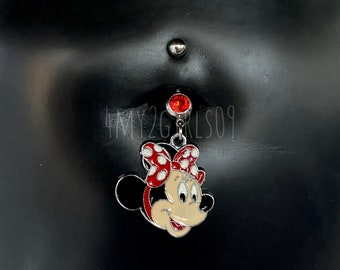 1-6 Bulk Anodized Mickey Mouse Cute Animal Belly Button Navel Ring Bar Coloured