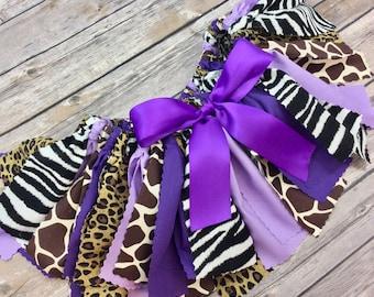 6f4e9574d Purple + Animal Print Safari Fabric Tutu Birthday Skirt, One Year First  Birthday, Leopard, Cheetah, Zebra, Giraffe, Jungle, Zoo Theme 1 Year