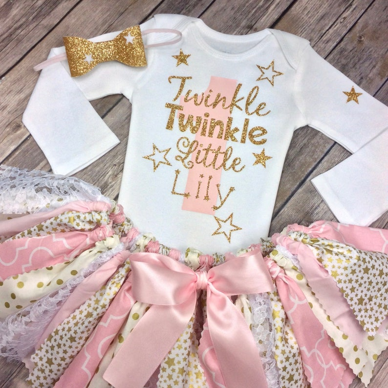 5a729612c Twinkle Twinkle Little Star Personalized Pink and Gold Glitter | Etsy