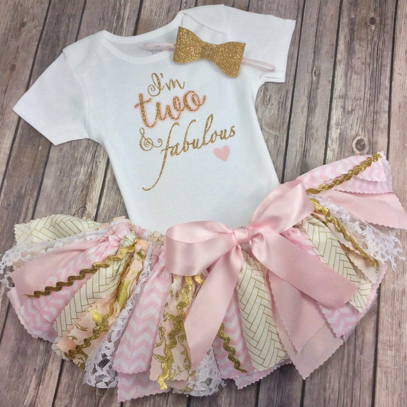 50d9ffea78bf Pink and Gold Glitter 3 Piece Birthday Outfit Including Onesie
