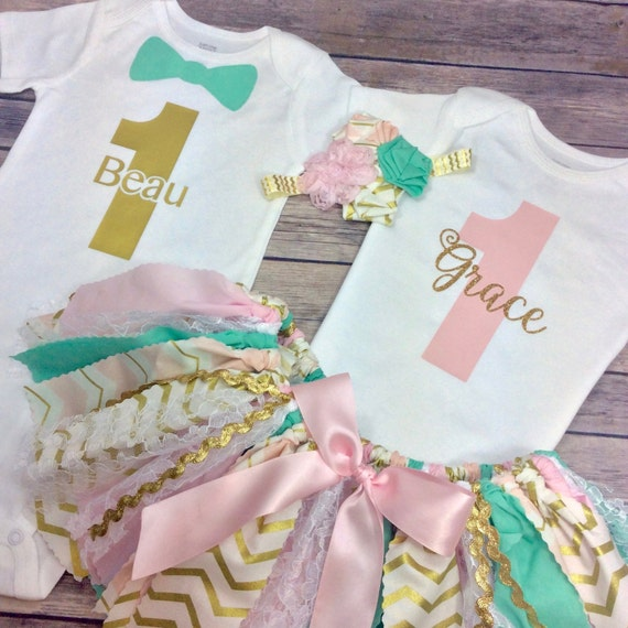Personalized Birthday Twin Outfits For Boy And Girl Twins