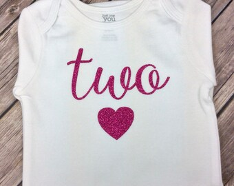 Color Choice - Any Age 'two' Onesie or Shirt in Hot Pink Glitter with Heart, Cute Birthday Shirt for Two Year Old, Second Birthday, Cursive
