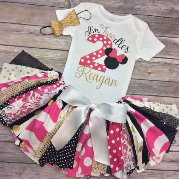 2 Year Old Minnie Mouse Twodles Birthday Outfit In Hot Pink