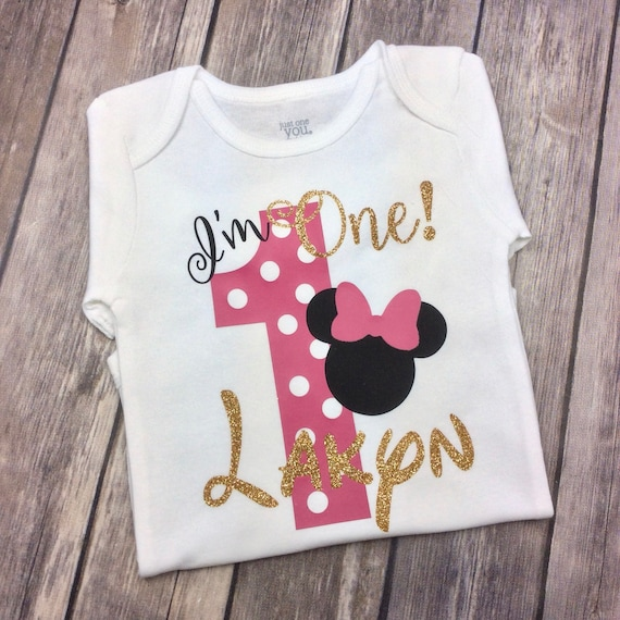 Black and Gold Glitter Minnie Mouse I/'m Four Birthday Girl Personalized Shirt Polka Dot Fourth Birthday 4 Year Old Four Year Old Red