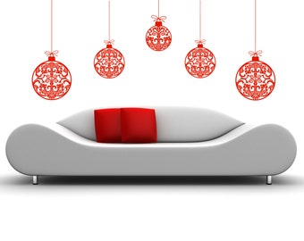 5 Removable Holiday Christmas Ornament Wall Decal Vinyl Sticker Mural