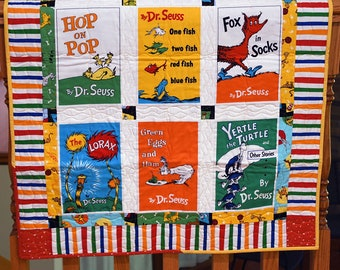 Seuss Books Baby Quilt - Seuss Wall hanging - Seuss Crib sheet - Organic -  Seuss Baby Bedding - Baby Shower - Heirloom Quilt - Personalize