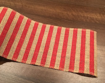 Red And Natural Striped Burlap, Red Striped Burlap, Fourth Of July Burlap, 4th Of July Burlap, Patriotic Burlap, Red Striped Ribbon, Burlap