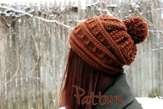 Crochet Hat Pattern Slouchy Hat Pattern Womens Beanie Pom Pom Winter Puff  Stitch Textured PDF Tutorial Download Slouch Cute Comfy Teen