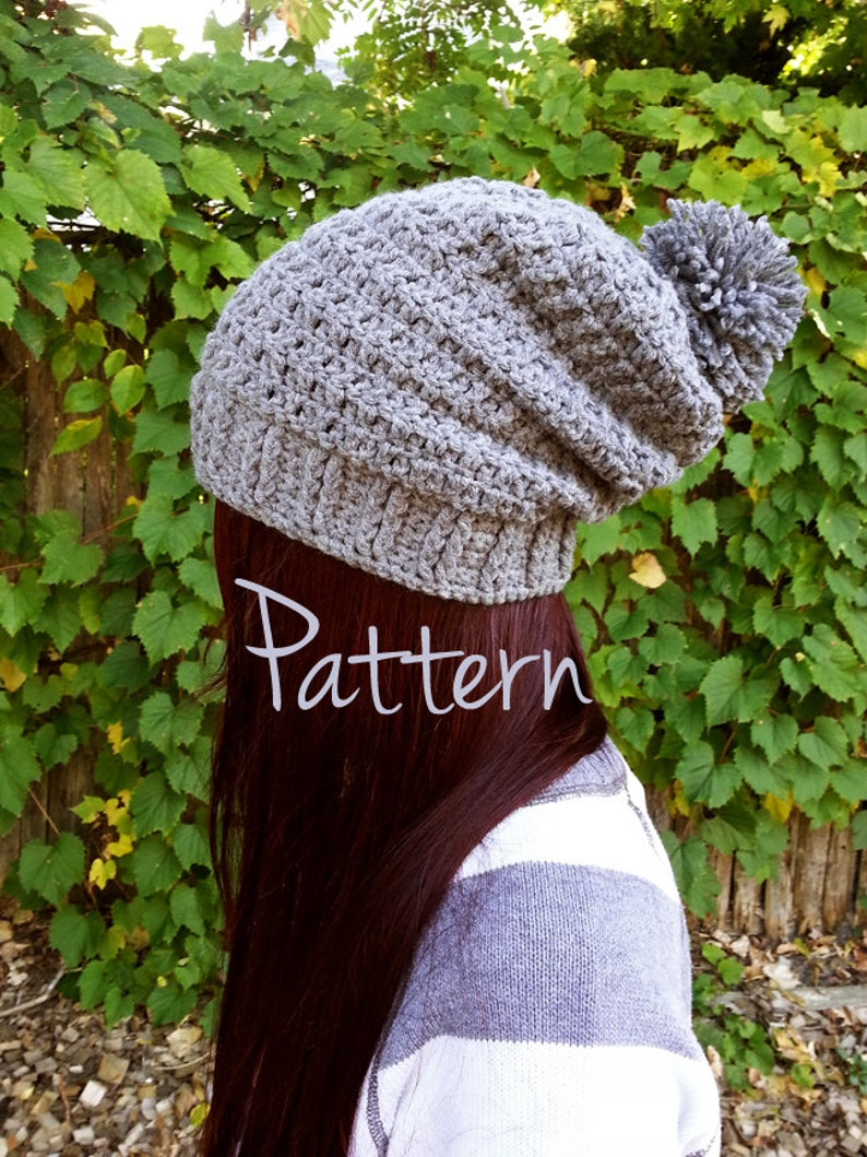 5c091cc75bd Crochet Hat Pattern Slouchy Beanie Pom Pom Winter Fall Autumn