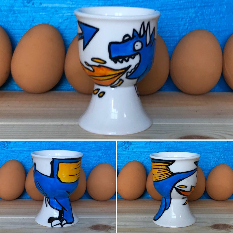 Halloween Birthday Valentines Dragon Egg Cup Breakfast Gift Hand painted Christmas Easter