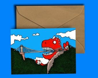 Dinosaur vs Bristol Suspension Bridge - Bristol - Birthday - Greeting Card - Blank inside for your own witty ditty