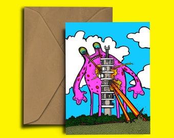 Purdown Putdown - Bristol - greetings card - Purdown BT Tower