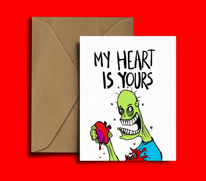 My Heart Is Yours Valentines Card Zombie