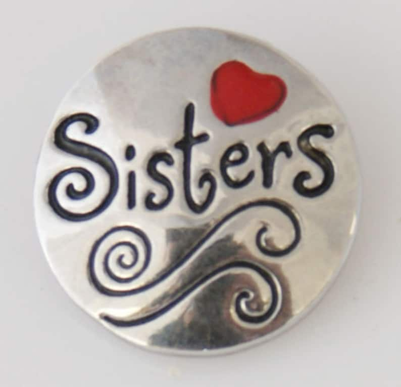 Sisters w Red Heart Snap It SKB7754   Popper Chunk Snap Button Interchangeable 18mm 20mm snap