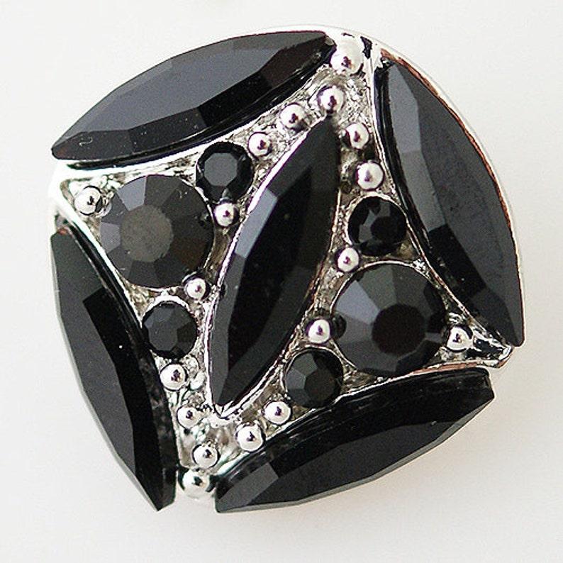 Snap It SKB8642  Noosa Chunk Snap Popper CZ 5 Black Marquis Stones w Black Round Stones