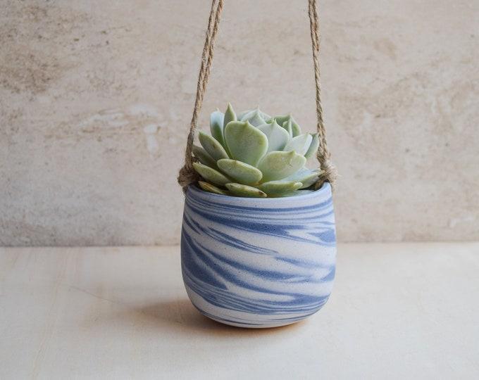 Hanging Planter,Ceramic Planter,Marbled Planter,White Planter,Blue Planter,Succulent Planter,Indoor Planter,Modern Planter,no plant,SP369