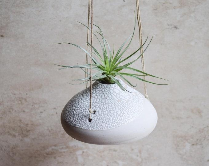 Air Plant Vase, hanging vase, hanging planter, air plant holder, crackle vase, white vase, organic vase, textured vase, earthy vase, ap8