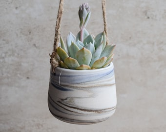 Hanging Planter,Ceramic Planter,Marbled Planter,White Planter,Blue Planter,Succulent Planter,Indoor Planter,Modern Planter,no plant,SP328