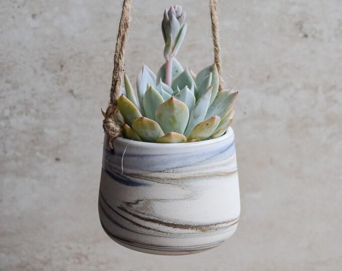 Hanging Planter,Ceramic Planter,Marbled Planter,White Planter,Blue Planter,Succulent Planter,Indoor Planter,Modern Planter,no plant,SP328
