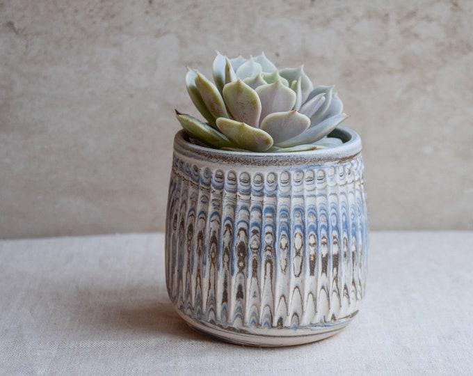 Ceramic Planter,White Planter,Marbled Planter,Succulent Planter,Herb Planter,Indoor Planter,Handmade Planter,Textured Planter,No Plant,PL7