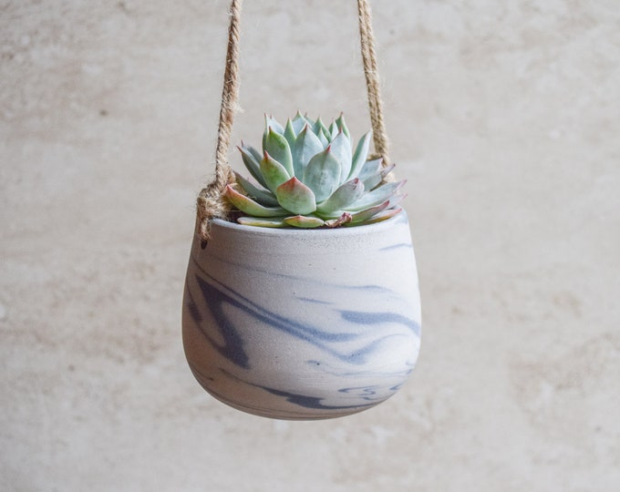 Hanging Planter,Ceramic Planter,Marbled Planter,White Planter,Blue Planter,Succulent Planter,Indoor Planter,Modern Planter,no plant,SP403