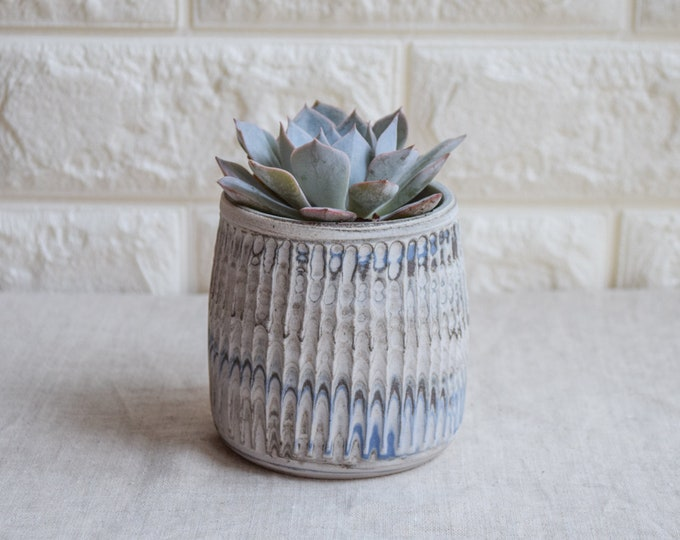 Ceramic Planter,White Planter,Marbled Planter,Succulent Planter,Herb Planter,Indoor Planter,Handmade Planter,Textured Planter,No Plant,CP4