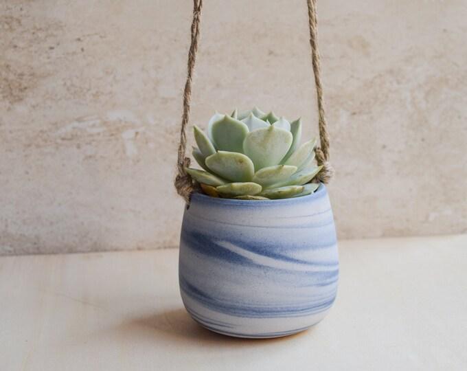 Hanging Planter,Ceramic Planter,Marbled Planter,White Planter,Blue Planter,Succulent Planter,Indoor Planter,Modern Planter,no plant,SP370