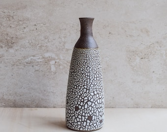 bud vase, white crawl vase, ceramic vase, brown vase, textured vase, modern vase, handmade vase, bottle vase, tall narrow vase (V110)