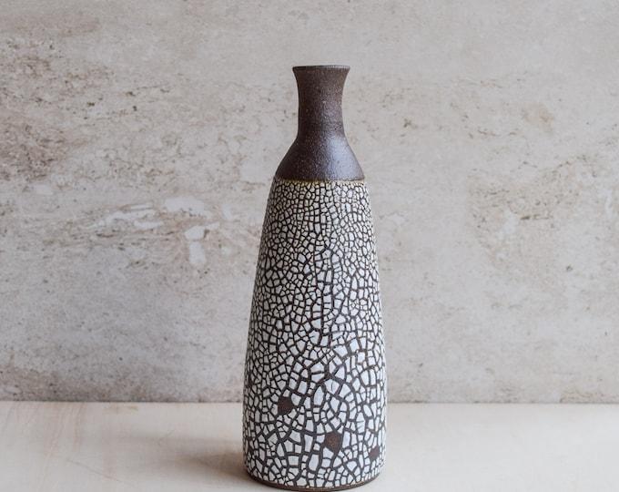 bud vase, white crawl vase, ceramic vase, brown vase, textured vase, modern vase, handmade vase, bottle vase, tall narrow vase (V110)