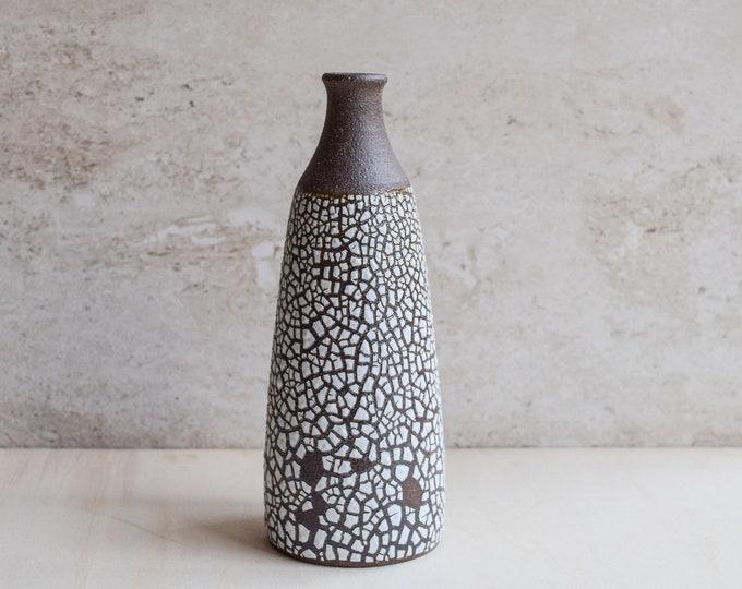 bud vase, white crawl vase, ceramic vase, brown vase, textured vase, modern vase, handmade vase, bottle vase, tall narrow vase (V112)