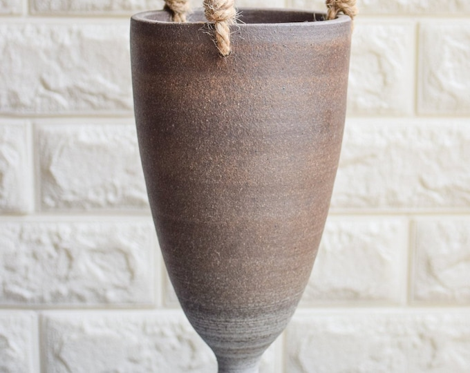 Hanging Planter-Brown White Planter-Succulent Planter-Ceramic Planter-Indoor Planter-Ceramic Hanging Planter-Textured Planter-No Plant-LSP3