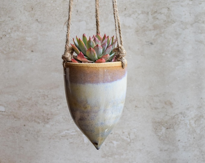 Hanging Planter-Whimsical Planter-Dreamy Glaze-Soft Lavender Creme-Succulent Planter-Ceramic Planter-Indoor Planter-Cone Planter-HP121