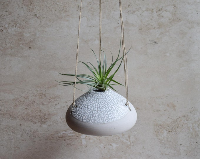 Air Plant Vase, hanging vase, hanging planter, air plant holder, crackle vase, white vase, organic vase, textured vase, earthy vase, ap6