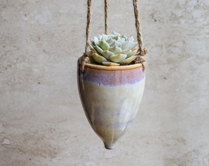 Hanging Planter-Whimsical Planter-Dreamy Glaze-Soft Lavender Creme-Succulent Planter-Ceramic Planter-Indoor Planter-Cone Planter-HP123