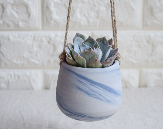 Hanging Planter,Ceramic Planter,Marbled Planter,White Planter,Blue Planter,Succulent Planter,Indoor Planter,Modern Planter,no plant,SP396