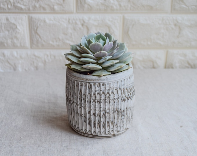 Ceramic Planter,White Planter,Marbled Planter,Succulent Planter,Herb Planter,Indoor Planter,Handmade Planter,Textured Planter,No Plant,CP2