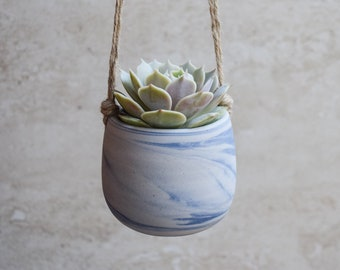 Hanging Planter,Ceramic Planter,Marbled Planter,White Planter,Blue Planter,Succulent Planter,Indoor Planter,Modern Planter,no plant,SP380