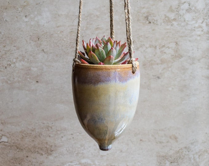 Hanging Planter-Whimsical Planter-Dreamy Glaze-Soft Lavender Creme-Succulent Planter-Ceramic Planter-Indoor Planter-Cone Planter-HP120