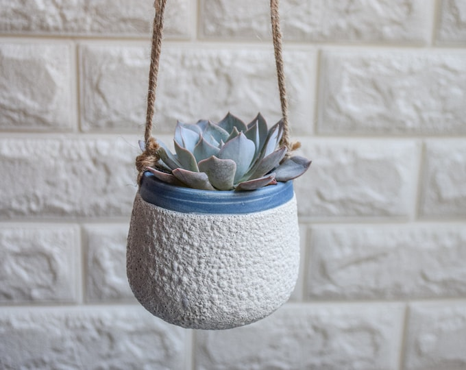Hanging Planter-White Planter-Succulent Planter-Ceramic Planter-Indoor Planter-Ceramic Hanging Planter-Textured Planter-No Plant-SP388