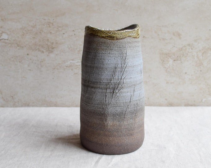 Ceramic Vase, brown white vase, earthy, tree texture, crackle vase, bud vase, cylinder vase, contemporary vase, organic vase, V123